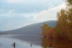 Ajardine com árvores, lagoa e montanhas do outono Imagens de Stock Royalty Free