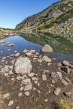 Ajardine com agua potável no lago pequeno, montanha de Rila Foto de Stock