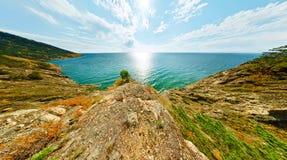 Ajardine com as árvores no mar Baikal de turquesa da rocha Fotografia de Stock