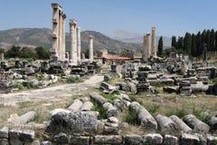 Ajardine com as colunas romanas antigas do tempo em Hierapolis Imagem de Stock Royalty Free