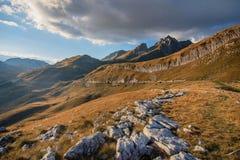 Ajardine com as montanhas no parque nacional Durmitor, Monteneg Foto de Stock Royalty Free