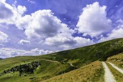 Ajardine com as rochas das montanhas de Bucegi, parte de Carpathians do sul em Romênia Imagem de Stock