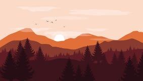 Ajardine com as silhuetas alaranjadas e vermelhas das montanhas e dos montes imagem de stock royalty free