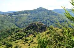 Ajardine com as sobras da fortaleza medieval Liteni. Fotografia de Stock Royalty Free
