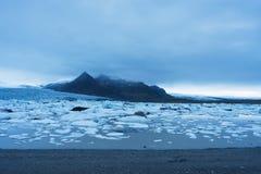 Ajardine com banquisas de gelo no lago glacial Fjallsarlon, Icelan Fotografia de Stock Royalty Free
