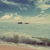 Ajardine com barcos do pescador - estilo retro do vintage Foto de Stock Royalty Free