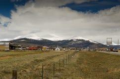 Ajardine com céu azul e árvores em Colorado Fotos de Stock Royalty Free