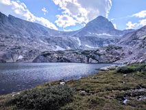 Ajardine com céu azul e árvores em Colorado Imagens de Stock