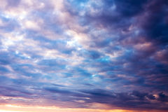 Ajardine com céu e nuvens no nascer do sol, por do sol Imagem de Stock