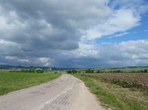 Ajardine com campo da estrada e da rosa em Bakhchisaray, Crimeia Fotografia de Stock Royalty Free