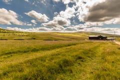 Ajardine com campo de grama e as nuvens agradáveis em Krkonose em República Checa Fotografia de Stock Royalty Free