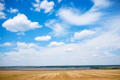 Ajardine com campo o rio e o céu nebuloso Imagens de Stock
