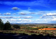 Ajardine com carneiros e olhos azuis com nuvens brancas Imagem de Stock