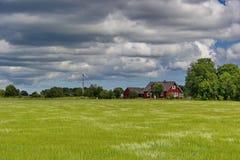 Ajardine com a casa rural estônia e o céu nebuloso Fotografia de Stock Royalty Free