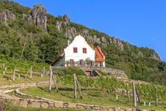 Ajardine com a casa típica de Hungria na montanha Badacs Fotografia de Stock