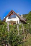Ajardine com a casa típica de Hungria na montanha Badacs Fotografia de Stock Royalty Free