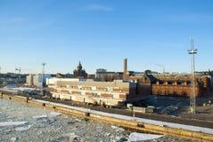 Ajardine com a catedral ortodoxo da suposição e o porto dentro Foto de Stock