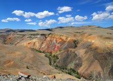 Ajardine com depósito da argila colorida nas montanhas de Altai Fotos de Stock Royalty Free