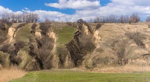 Ajardine com erosão do solo na estação de mola adiantada em Ucrânia Imagem de Stock Royalty Free