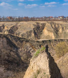 Ajardine com erosão do solo nos subúrbios da cidade de Dnepr, Ucrânia Fotografia de Stock