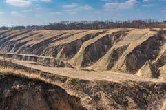 Ajardine com erosão do solo nos subúrbios da cidade de Dnipro, Ucrânia Foto de Stock Royalty Free