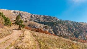 Ajardine com estrada de terra e trilha da caminhada no pasto Demerdzhi da montanha, península crimeana Imagem de Stock Royalty Free