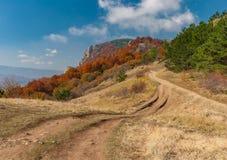 Ajardine com a estrada de terra no pasto Demerdzhi da montanha, península crimeana Imagens de Stock Royalty Free