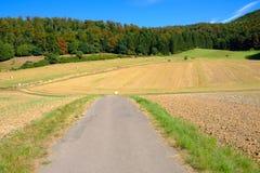 Ajardine com estrada e campo agrícola com coisl do feno Fotografia de Stock Royalty Free