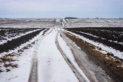 Ajardine com a estrada secundária suja entre campos agrícolas em Ucrânia central no dia outonal atrasado sombrio Foto de Stock
