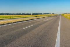 Ajardine com estrada vazia Dnipro-Kharkiv em Ucrânia central Fotografia de Stock