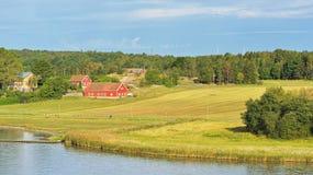 Ajardine com exploração agrícola e pasto em costas do mar Báltico Fotografia de Stock Royalty Free