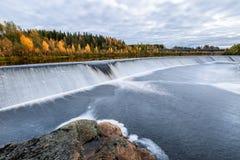 Ajardine com floresta do outono e represe no rio Fotografia de Stock Royalty Free