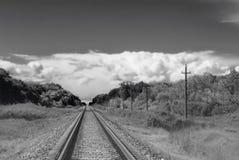 Ajardine com floresta, os céus, as nuvens e a estrada de ferro verdes Foto de Stock Royalty Free