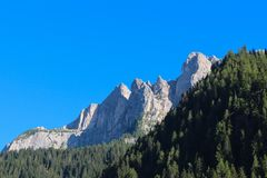 Ajardine com floresta verde, montanhas e o céu azul Fotos de Stock Royalty Free