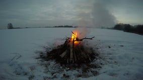 Ajardine com a fogueira que queima-se na neve profunda, 4K filme