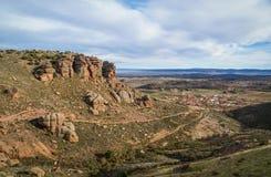 Ajardine com formações de rocha estranhas em Peracence, Espanha Fotos de Stock