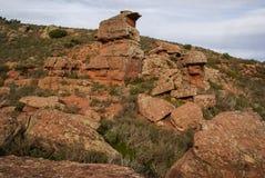 Ajardine com formações de rocha estranhas em Peracence, Espanha Imagens de Stock
