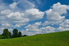 Ajardine com grama verde e árvores no montanhês e nas nuvens no céu azul Imagem de Stock Royalty Free