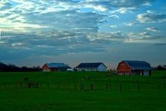 Ajardine com gramado, celeiro, casa e cavalo Foto de Stock Royalty Free