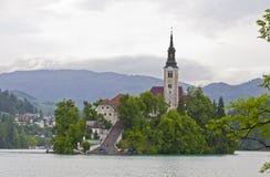 Ajardine com a ilha no lago Bled, sangrado, Eslovênia Imagens de Stock