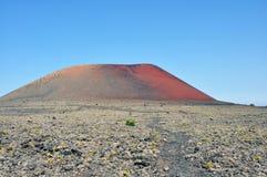 Ajardine com a ilha vulcânica espanhola lanzarote do vulcão vermelho Fotos de Stock Royalty Free