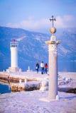 Ajardine com a imagem do mar e das montanhas Imagem de Stock Royalty Free