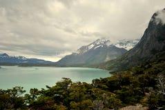 Ajardine com lago e montanhas em Torres del Paine Fotos de Stock