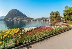 Ajardine com lago Lugano e as tulipas coloridas na flor do parque de Ciani na primavera Fotos de Stock Royalty Free