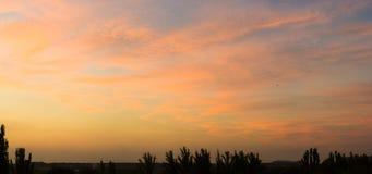 Ajardine com luz dramática - por do sol dourado bonito com céu e as nuvens saturados imagem de stock