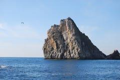 Ajardine com mar, gaivota e uma montanha Imagem de Stock