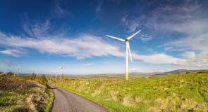 Ajardine com moinhos de vento em um céu azul em uma cortiça do condado Imagens de Stock Royalty Free