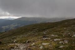 Ajardine com montanhas e coberta da floresta com muita névoa Imagens de Stock Royalty Free