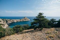 Ajardine com montanhas e uma baía do mar e um pinheiro na parte dianteira no verão Imagens de Stock