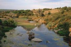 Ajardine com montanhas, floresta e um rio na parte dianteira Foto de Stock Royalty Free